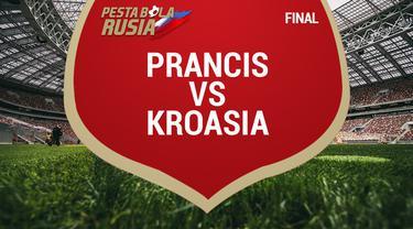 Prancis berhasil menjadi juara Piala Dunia 2018 setelah mengalahkan Kroasia dengan skor 4-2.