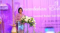 Menteri Keuangan Sri Mulyani menyampaikan sambutan saat membuka DhawaFest Pesona 2019 di Kementerian Keuangan, Jakarta, Rabu (8/5/2019). Dalam sambutannya, Sri Mulyani juga mengajak semua jajaran Kemenkeu untuk peduli dan memelihara lingkungan. (Liputan6.com/Angga Yuniar)