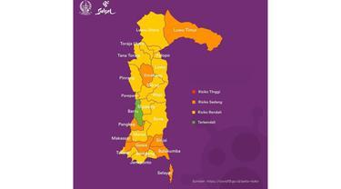 Zona Penyebaran Covid-19 di Sulawesi Selatan (Liputan6.com/Doc:Dinkes Sulsel)