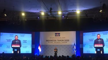 Ketua Umum Partai Demokrat Susilo Bambang Yudhoyono menyampaikan pidato dihadapan kader-kadernya di JCC, Senayan, Jakarta. (Liputan6.com/Muhammad Radityo Priyasmoro)