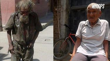 Seorang kakek lusuh yang puluhan tahun jadi gelandangan, dimandikan oleh sejumlah warga.