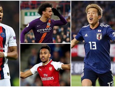 Berikut ini 7 pemain dengan Akselerasi Tercepat di FIFA 20. Daftar tertinngi dipegang oleh Kylian Mbappe dengan nilai 96. (Foto Kolase AP dan AFP)