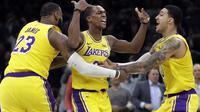 Selebrasi pemain Lakers saat kalahkan Celtics (AP)
