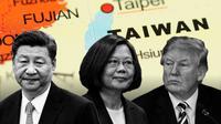 Ilustrasi hubungan China, Taiwan, dan Amerika Serikat (AFP Photo)