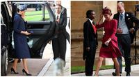 Meghan Markle dan Kate Middleton di pernikahan Putri Eugenie. (Foto: GARETH FULLER / POOL / AFP, Adrian DENNIS / AFP / POOL)