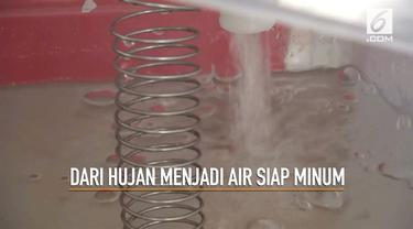 Pertama di Indonesia Kebun Raya Indrokilo, Boyolali mengolah air hujan yang jatuh menjadi air siap minum bagi para pengunjung.