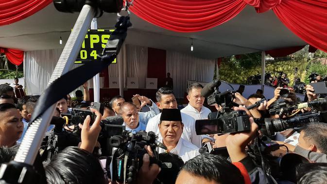 Prabowo Subianto usai mencoblos