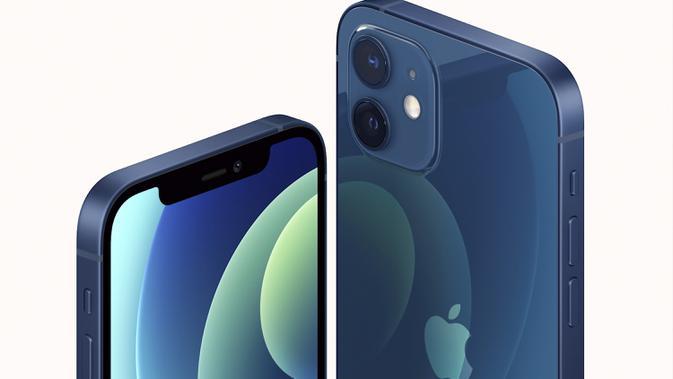 Tampilan salah satu seri iPhone 12 yang dilengkapi dengan teknologi 5G sehingga lebih cepat diluncurkan Apple pada Selasa (13/10/2020). Apple meluncurkan seri iPhone 12 yang mendukung teknologi seluler 5G. (Apple via AP)