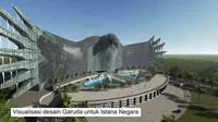 Visual desain garuda di bangunan Istana Negara Ibu Kota Baru. (dok. tangkapan layar IGTV @suharsomonoarfa)