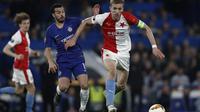 Chelsea menang 4-3 atas Slavia Praha pada laga leg kedua perempat final Liga Europa, di Stamford Bridge, Kamis (18/4/2019). (AFP/Adrian Dennis)