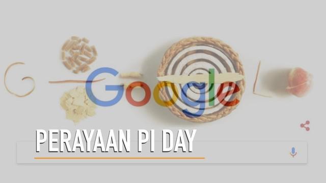 Google merayakan hari Pi setiap tanggal 14 Maret dengan menampilkan ilustrasi gambar pai.