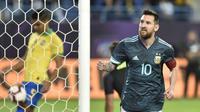 Bintang Argentina Lionel Messi merayakan gol pada uji coba melawan Brasil di King Saud University Stadium, Jumat (15/11/2019) atau Sabtu dini hari WIB. (AP Photo)