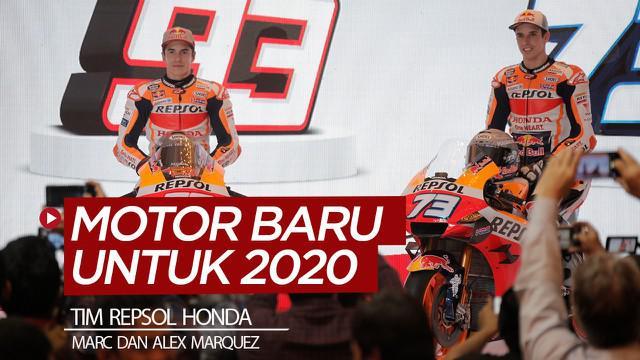 Berita video tim Repsol Honda meluncurkan motor baru untuk MotoGP 2020 yang akan dikendarai Marc dan Alex Marquez pada Selasa (4/2/2020).