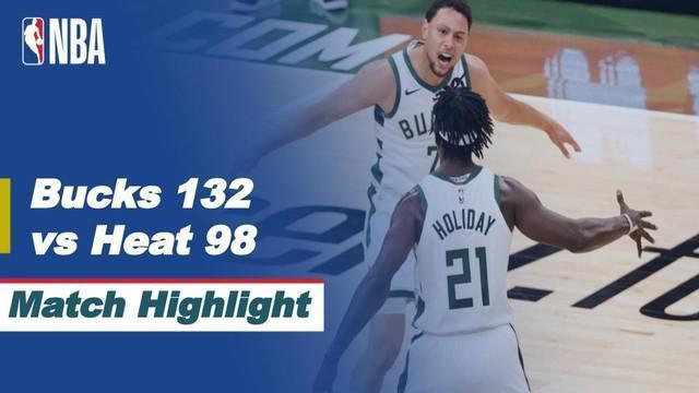 Berita video highlights game 2 babak I NBA Playoffs 2021 wilayah timur antara Milwaukee Bucks melawan Miami Heat yang berakhir dengan skor 132-98, Selasa (25/5/2021) WIB.