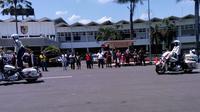 Salah satu atraksi dalam acara kampanye Milenial Road Safety Festival di Alun-Alun Jember, Jawa Timur.