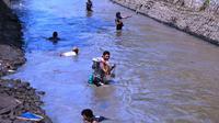 Warga 'gogoh iwak' di irigasi Silekor Kutoarjo. (KRJogja.com/Jarot Sarwosambodo)