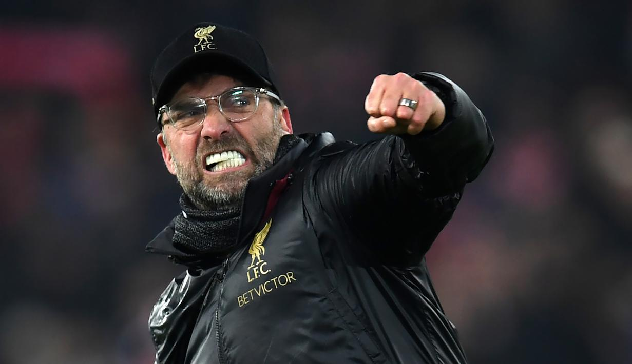 Ekspresi Pelatih Livepool, Jurgen klopp, saat merayakan kemenangan timnya ketika melawan Crystal Palace pada laga Premier League. (AFP/Paul Ellis)