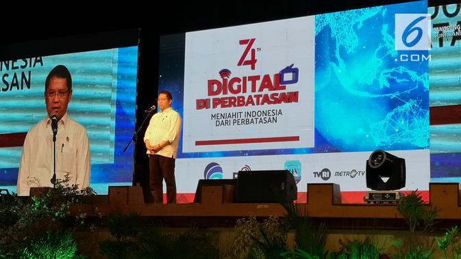 Menkominfo meresmikan peluncuran TV digital di Nunukan, Kalimantan Utara, Sabtu (31/8/2019).. (Liputan6.com/ Agustinus Mario Damar)