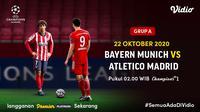 Pertandingan Bayern Munchen vs Atletico Madrid di Liga Champions 2020/2021, Kamis (22/10/2020) dapat disasikan di platform streaming Vidio. (Sumber: Vidio)