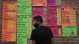 Seorang pria berdiri di depan tanda harga produk dalam dolar AS di luar toko bahan makanan di Caracas (19/1/2021). Krisis ekonomi Venezuela telah mengirim jutaan orang melarikan diri dan mereka yang tertinggal kekurangan barang-barang kebutuhan pokok, termasuk bensin. (AP Photo/Matias Delacroix)