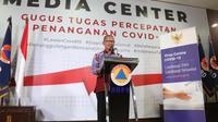 Juru Bicara Penanganan COVID-19 di Indonesia, Achmad Yuriantosaat konferensi pers Corona secara Live di Graha BNPB, Jakarta, Selasa (31/3/2020). (Dok Badan Nasional Penanggulangan Bencana/BNPB)