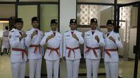 6 Anggota Paskibraka Nasional 2019 yang siap bertugas di hadapan Presiden Joko Widodo pada HUT ke-74 RI, Sabtu, 17 Agustus 2019 di Istana Merdeka (Liputan6.com/Aditya Eka Prawira)