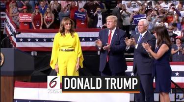 Presiden Amerika Serikat Donald Trump resmi mencalonkan diri kembali di pemilihan presiden Amerika Serikat tahun 2020. Kampanye perdana Trump di Gelar di Orlando, Florida.