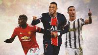 Ilustrasi - Paul Pogba, Kylian Mbappe, Cristiano Ronaldo (Bola.com/Adreanus Titus)