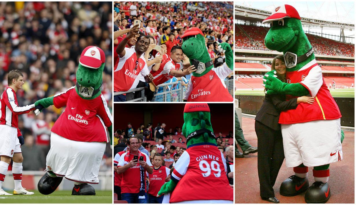 Kabar mengejutkan datang dari Liga Inggris. Klub asal London, Arsenal, resmi memecat maskot tim yang lebih sering dikenal dengan nama Gunnersaurus.