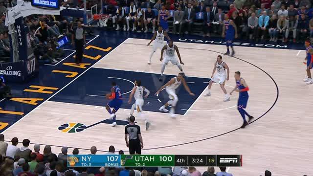 Berita video game recap NBA 2017-2018 antara New York Knicks melawan Utah Jazz dengan skor 117-115.