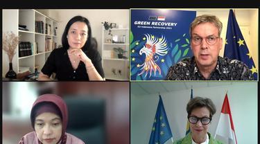 Press Conference of the EU-Indonesia Cooperation Publication 2021: Green Recovery secara virtual pada Selasa (4/5/2021).