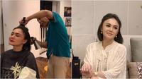 Momen Yuni Shara potong rambut di rumah. (Sumber: YouTube Yuni Shara Channel)