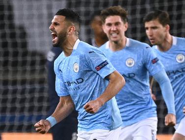 FOTO: Manchester City Comeback, Bungkam PSG 2-1 - Riyad Mahrez