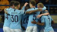 Manchester City bersua Shakhtar Donetsk pada laga ketiga Grup F Liga Champions, di Stadion Metalist, Selasa (23/10/2018) malam waktu setempat. (AFP/GENYA SAVILOV)