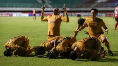 Bhayangkara FC menang tipis 2-1 atas Bali United pada pekan kedelapan di Stadion Maguwoharjo, Sleman, Sabtu (23/10/2021) malam. (Bola.com/Bagaskara Lazuardi)