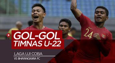 Berita video momen gol-gol Timnas Indonesia U-22 ke gawang Bhayangkara FC dalam laga uji coba di Stadion Patriot, Bekasi, Rabu (6/2/2019).