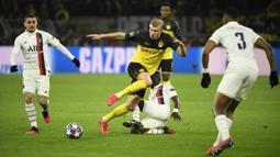 Striker Borussia Dortmund, Erling Braut Haaland, merayakan gol yang dicetaknya ke gawang Paris Saint-Germain pada leg pertama 16 besar Liga Champions di Signal Iduna Park, Dortmund, Rabu (19/2) dini hari WIB. Dortmund menang 2-1 atas PSG. (AFP/Ina Fassbender)