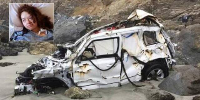 Kondisi Angela dan mobilnya karena kecelakaan/copyright independent.co.uk