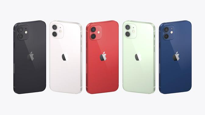 Tampilan iPhone 12 dengan teknologi 5G yang baru diluncurkan Apple, Selasa (13/10/2020. Apple meluncurkan seri iPhone 12 yang mendukung teknologi seluler 5G. (Apple via AP)