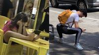 Pose nyeleneh orang main ponsel (Sumber: Instagram/peoplestanding)