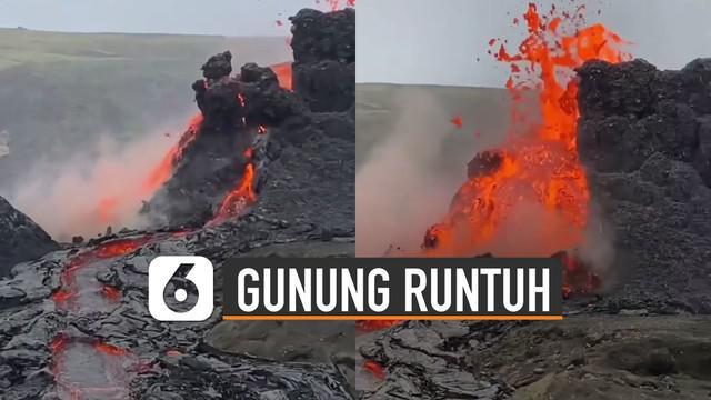 Terekam kamera netizen detik-detik gunung berapi runtuh di Islandia.