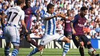 Barcelona menang 2-1 atas Real Sociedad pada laga pekan keempat La Liga Spanyol, di Estadio Municipal de Anoeta, Sabtu (15/9/2018) malam WIB. (AP Photo/Jose Ignacio Unanue)