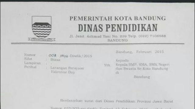 Disdik Bandung Edarkan Surat Larang Siswa Rayakan Hari