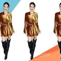 Kendall Jenner tampil dengan busana berbahan velvet. (Image: celebritystyleguide.com. DI: Muhammad Iqbal Nurfajri)
