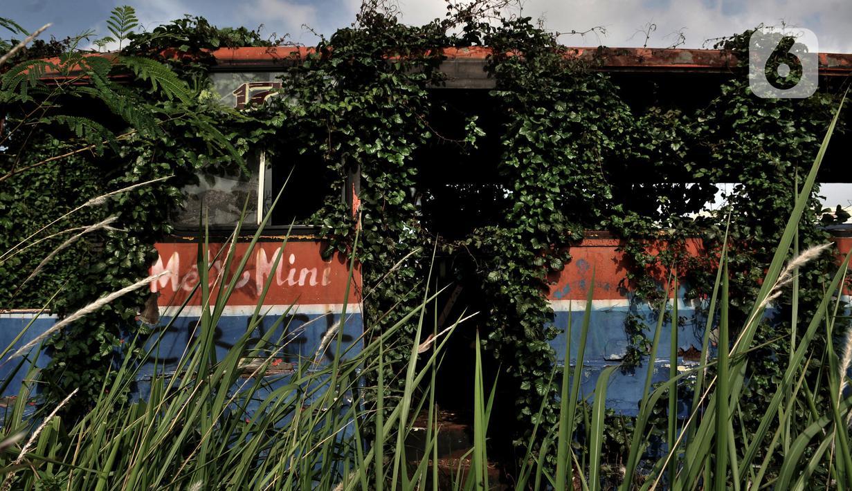 "Bangkai bus Metromini di Rawa Buaya tertutup tumbuhan liar setelah dikandangkan selama bertahun-tahun. Karya foto ini sedang dipamerkan dalam pameran foto dengan tema ""Innovation"" di Erasmus Huis. (merdeka.com/Iqbal S Nugroho)"