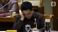Menteri BUMN, Erick Thohir mengikuti rapat dengar pendapat umum dengan Panitia Kerja (Panja) DPR RI untuk skandal di PT Asuransi Jiwasraya (Persero), di Kompleks Parlemen, Jakarta, Selasa (29/1/2020). Erick Thohir diundang untuk membahas penyelesaian sengkarut Jiwasraya. (Liputan6.com/Johan Tallo)