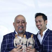 """""""Saya nggak bisa ngebayangin. Terimakasih, gitu aja. Terimakasih udah mencintai Warkop DKI sampai sekarang,"""" kata Indro Warkop penuh haru di CGV Blitz, Grand Indonesia, Jakarta Pusat, Jumat (2/9). (Nurwahyunan/Bintang.com)"""
