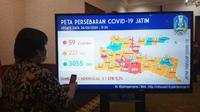 Peta persebaran Corona COVID-19 di Jawa Timur pada Kamis, 26 Maret 2020. (Foto: Liputan6.com/Dian Kurniawan)