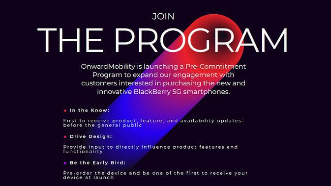 Program terbaru yang dibuka OnwardMobility terkait kehadiran smartphone terbaru BlackBerry (Foto: OnwardMobility)