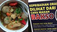 Tes kepribadian dari cara makan bakso. (Sumber: Twitter/@FOODFESS2 dan Liputan6.com/Putu Elmira)